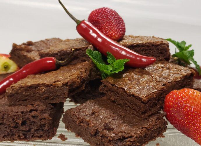 Brownie com Geleia de Morango com Pimenta
